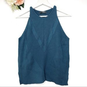 Anthropologie Blue Green Tank Top Knit Cami Size L